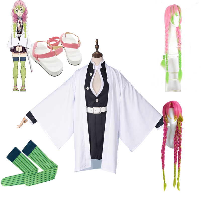 Kanroji Mitsuri Cosplay Costume Full Set Anime Demon Slayer Kimetsu No Yaiba Cosplay Costumes Shoes Wig Blade Of Demon Kimono