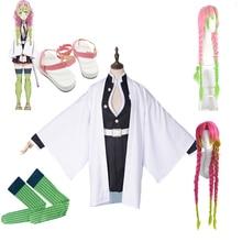 Kanroji Mitsuri Cosplay Costume Full set Anime Demon Slayer Kimetsu No Yaiba Costumes Shoes Wig Blade Of Kimono