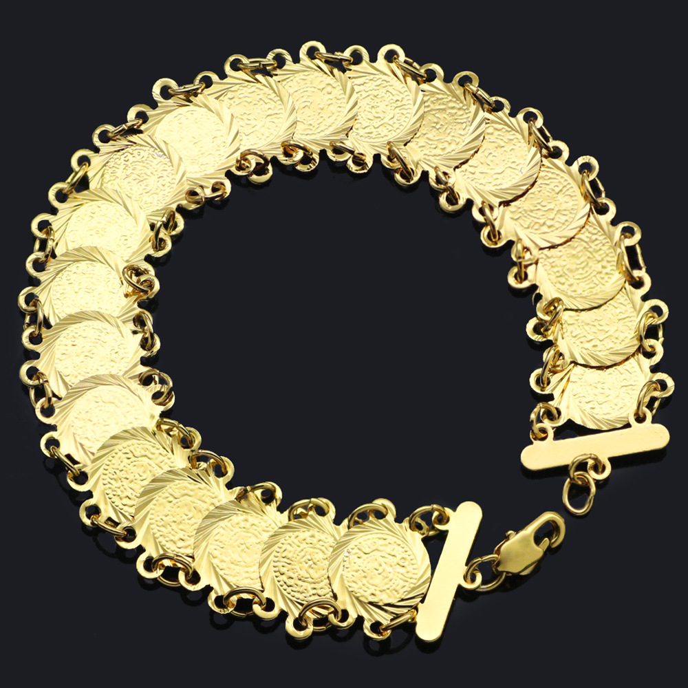 Allah Gold Coin Bracelet Middle East Religion Jewelry Bangle For Turkish Women Gift Muslim Islam Bracelets