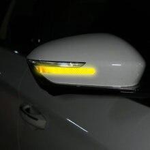 Bande réfléchissante pour rétroviseur de voiture, 2 pièces, autocollant d'avertissement Anti-collision, bande réflexe extérieure