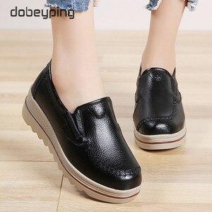 Image 3 - Tênis plataforma casuais femininos, sapatos baixos, loafers para mulheres, couro genuíno