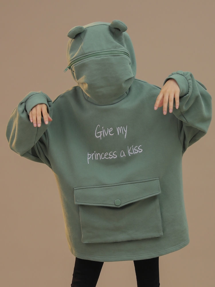 Koera Style Autumn Thick Loose Sweatshirt Harajuku Letters Printed Lovely Frog Casual Hooded Hoodies Pullover Female Thicken