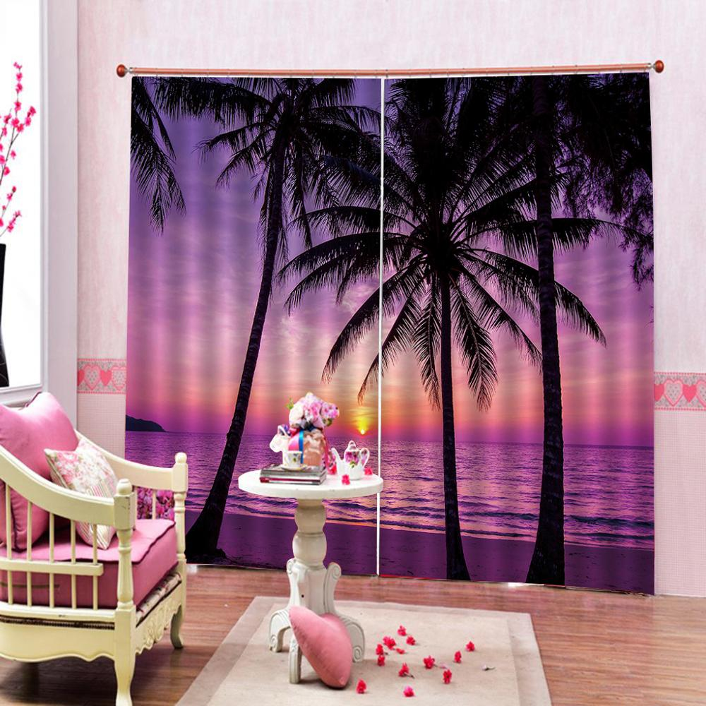 sunset purple beach curtains Luxury Blackout 3D Window Curtains For Living Room Bedroom Customized size stereoscopic curtains