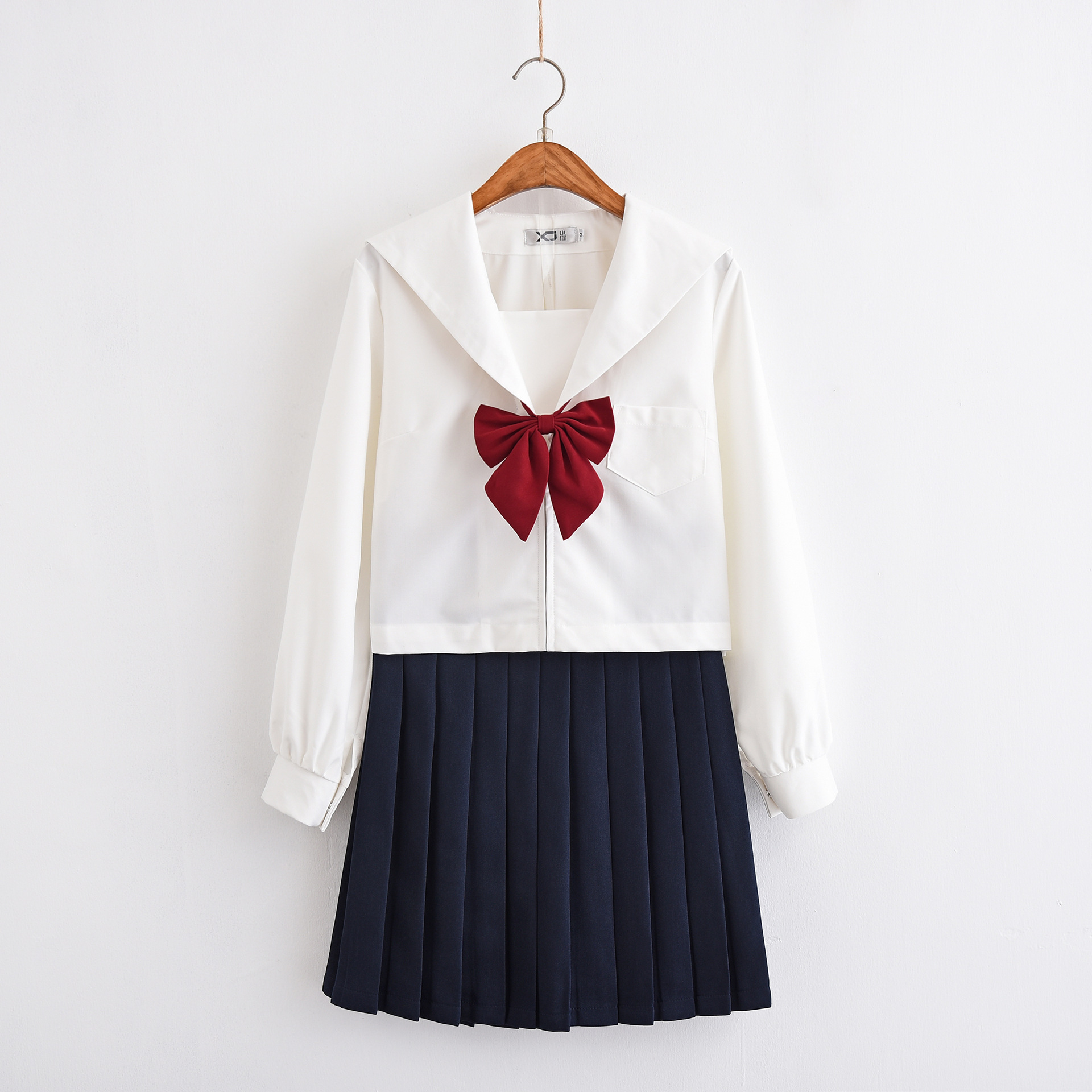 2019 Japanese School Uniforms For Girls Cute Long-length Sailor Tops Pleated Skirt Full Sets Cosplay JK Costume Uniforme Japones