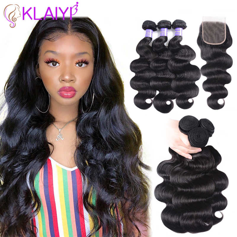 KLAIYI Hair Brazilian Body Wave With Closure 4 PCS Remy Hair Weave Bundles With Closure 100% Human Hair 3 Bundles With Closure