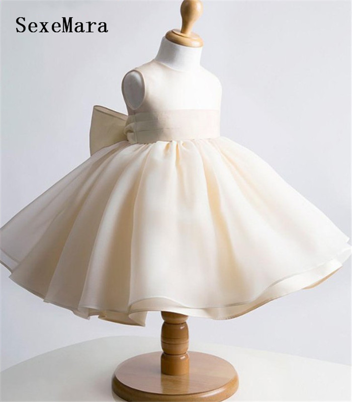 Champagne Tulle Girl Dress Baby 1 Year Birthday Dress Christening Dress Baptism Gown With Bow Kids Size 6m 12m 18m 24m