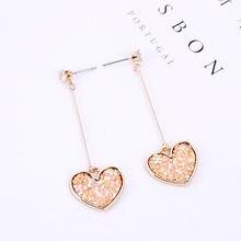 New Temperament Female Models Long Super Fairy Earrings Japanese and Korean Small Fresh Heart-shaped Pink Earrings(China)