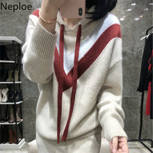 Neoploe New Fashion Hooded Patchwork Loose Sweaters Women Casual Plus Size Lace Up Pullovers Simple Autumn Student Tops 45828(China)