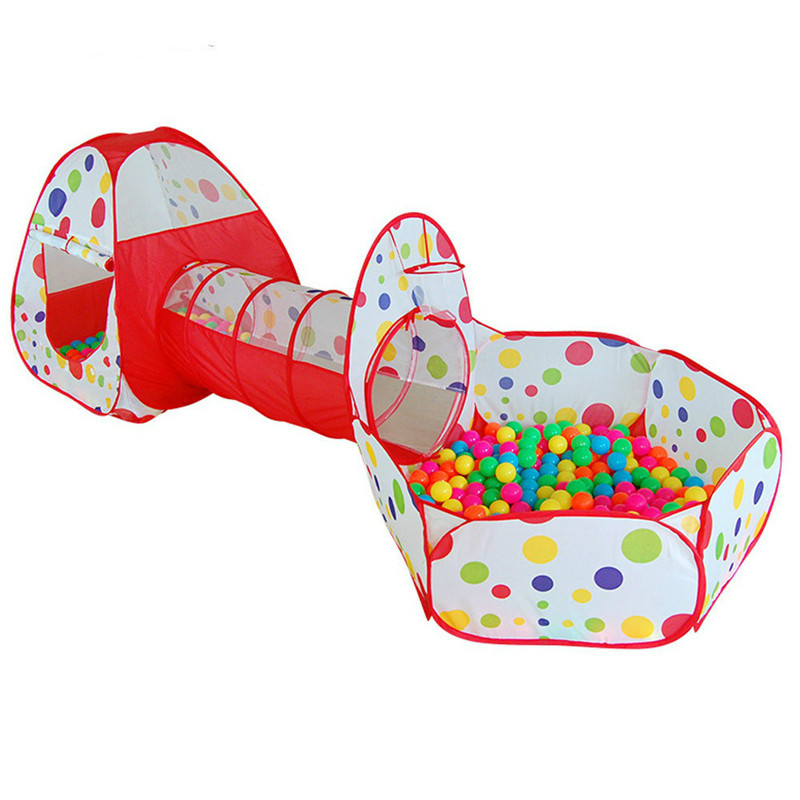 3 In 1 Play Tent Baby Playhouses Pool for Children Ocean Balls Easily Assembled Foldable Kids Playpen Tunnel Outdoor Play House