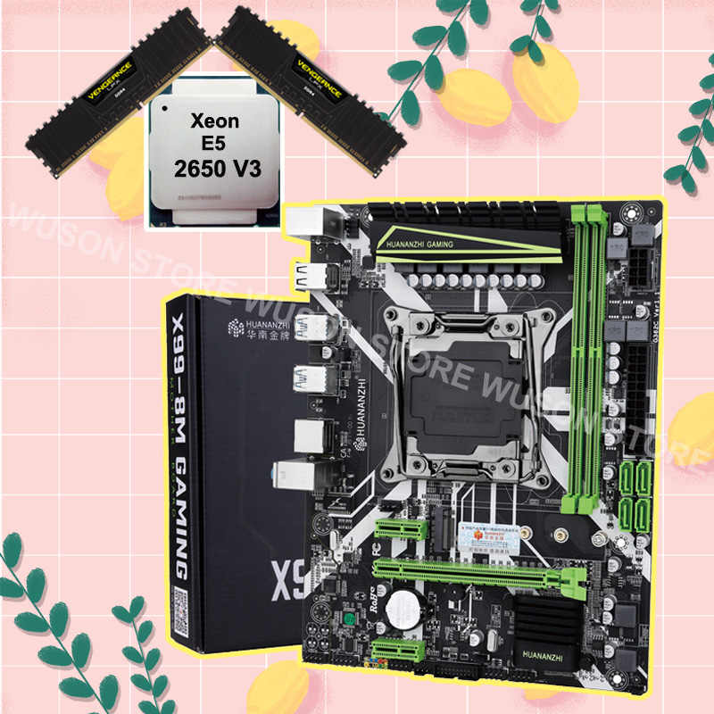 Discount HUANANZHI motherboard with M.2 NVMe slot X99 LGA2011-3 motherboard bundle CPU Xeon E5 2650 V3 RAM 32G(2*16G) 2400 DDR4