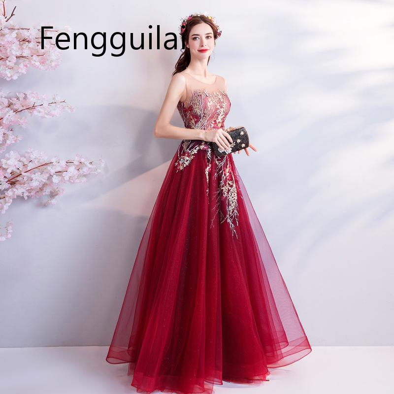 2020 New Women Mesh Dress Elegant Handmade Embroidery Flowers Branches Long Dress Luxurious Texture Beaded Decoration Red Dress