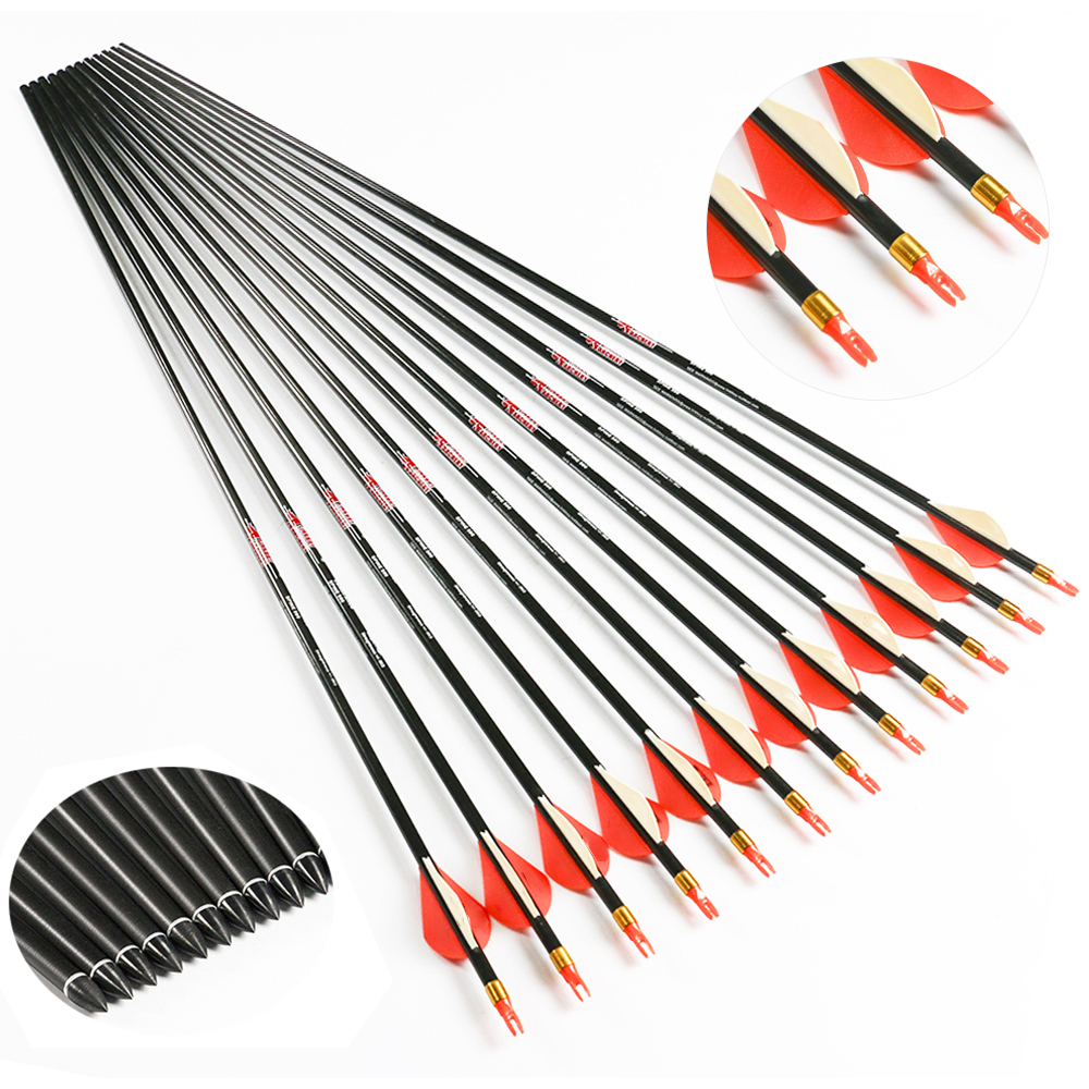 """Spine300 400 Archery Pure Carbon Arrows 2/"""" Vanes Compound Recurve Bow Hunting"""