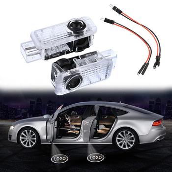 2 sztuk LED samochodów drzwiowe światło wejściowe dla A4 B6 B8 A1 A3 A6 C5 A5 A8 80 A7 Q3 Q5 Q7 TT R8 cień projektor lampowy dzięki uprzejmości światła tanie i dobre opinie CN (pochodzenie) Witamy Światło combo 50000 hours not included