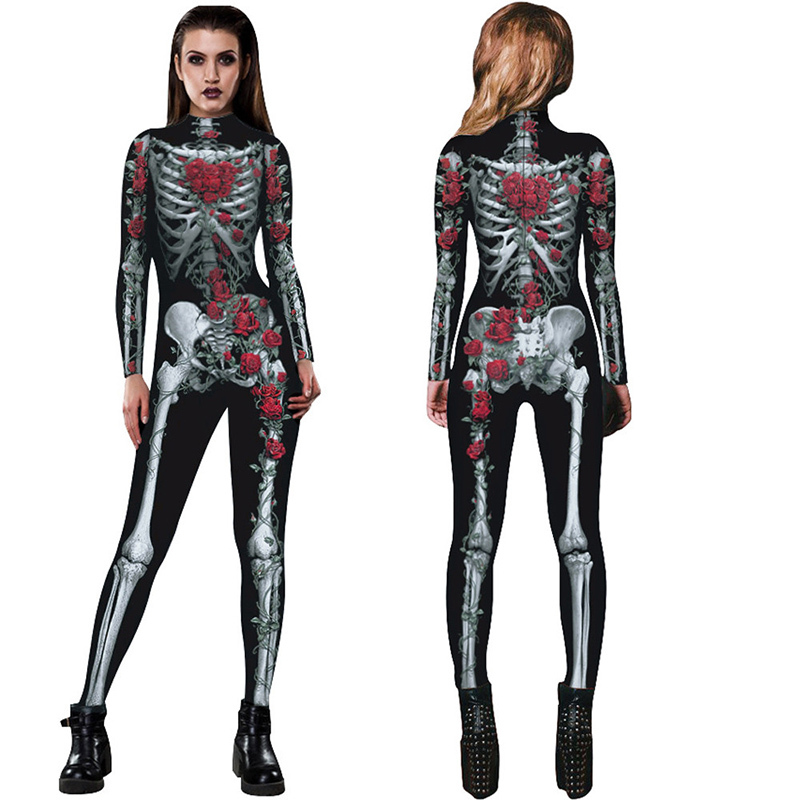 New Women Sexy Bodysuits Halloween Costumes For Women 3D Skull Rose Printing Jumpsuits Punky Back Yoga Day of the Dead    -