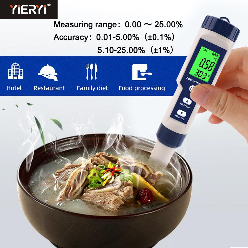 Yieryi Waterproof Digital Salt Concentration Meter Kitchen Sea Water Salinity Meter Salimeter For Food, Farming, Fish Pond,soup