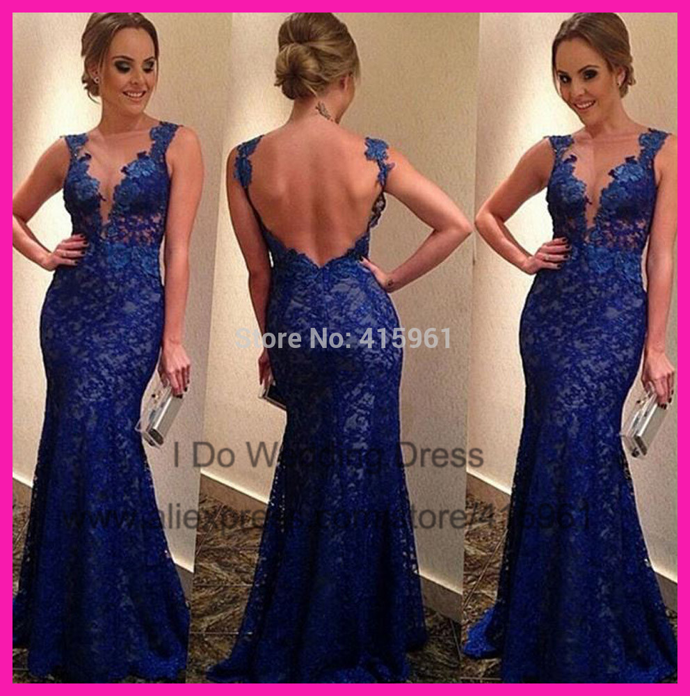Robe De Soiree 2018 Vestido De Festa Bateau Royal Blue Backless Off The Shoulder Lace Prom Evening Gown Special Occasion Dresses