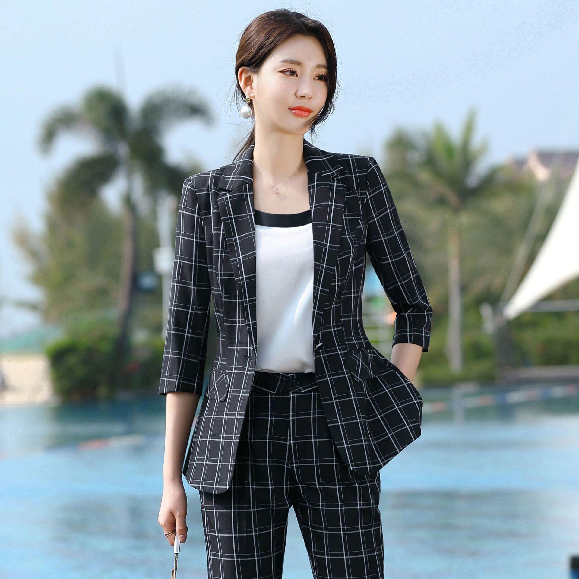 2020 мода женский элегантный деловой брючный костюм офис Единый формальный ол длинные брюки, блейзер и брюки 2 шт комплект штаны куртка
