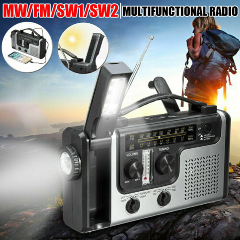 2020 Portable Emergency AM FM SW1 SW2 Radio Hand Crank Self Powered Solar Radios With Flashlight And Reading Light Multi Outdoor