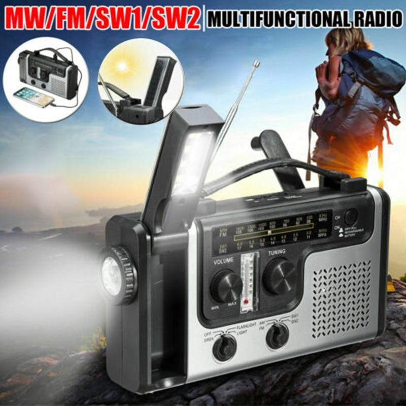 2020 Portable Emergency AM FM SW1 SW2 Radio Hand Crank Self Powered Solar Radios With Flashlight And Reading Light Multi Outdoor