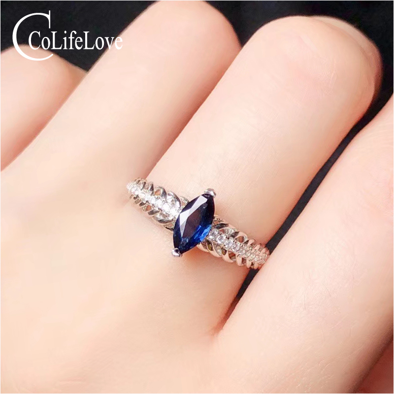 CoLife Jewelry 925 Silver Sapphire Ring for Daily Wear 4*8mm Natural Sapphire Ring Real Silver Sapphire Jewelry Gift for Girl