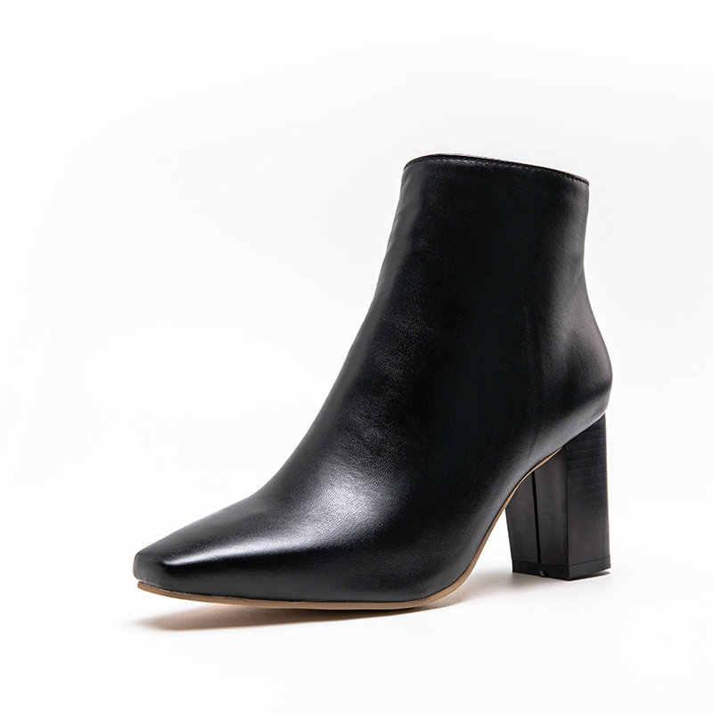 ESVEVA 2020 Kadın Ayakkabı Kış yarım çizmeler Kare Med Topuk PU Deri Kelebek-düğüm Zarif Motosiklet Platformu Çizme Boyutu 34 -43