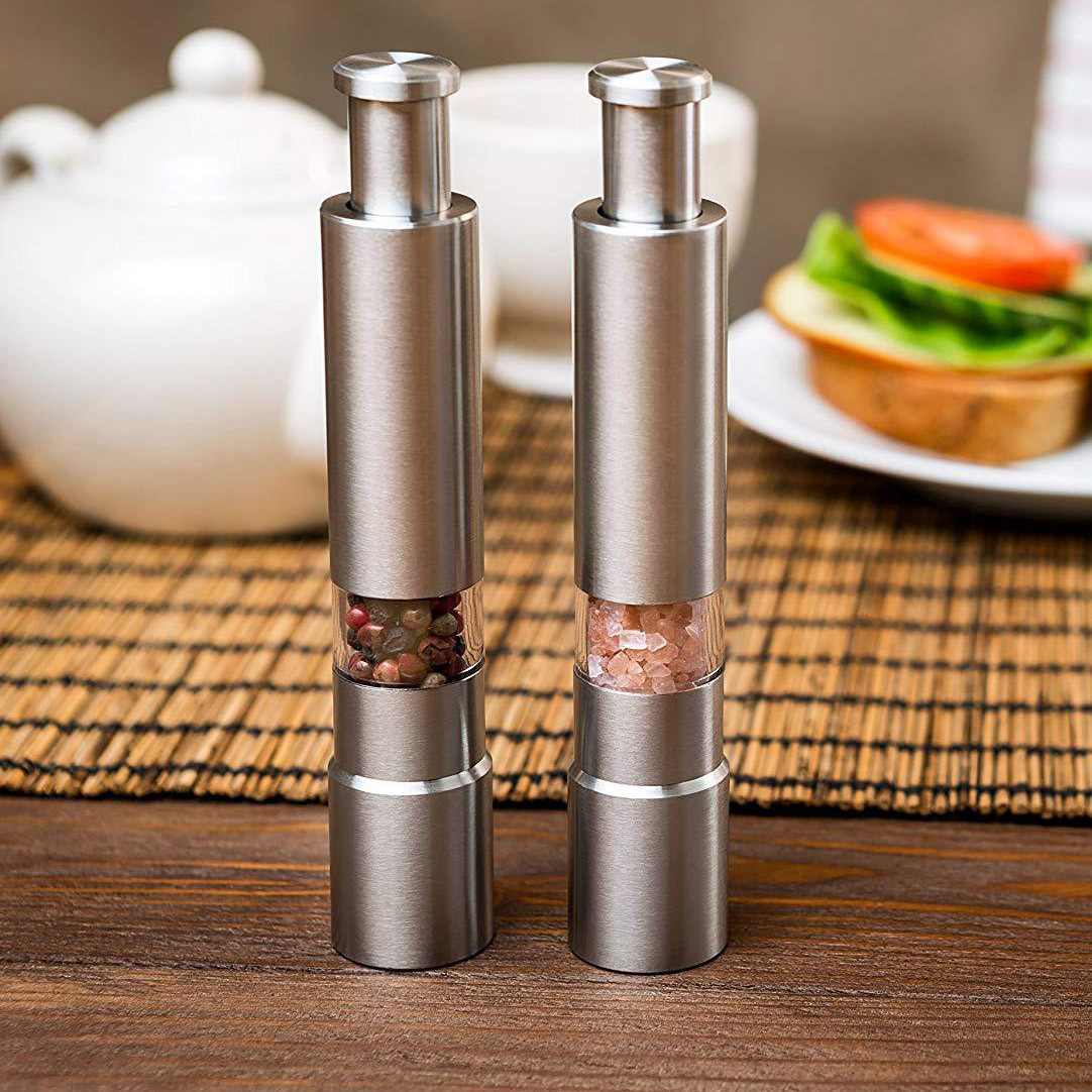 Image 2 - Salt Pepper Mills Grinder Pimenta Manual Push Silver Corn Mustard Thumb Push Grinder Spice Sauce Muller Stick Kitchen Tools 7P-in Mills from Home & Garden