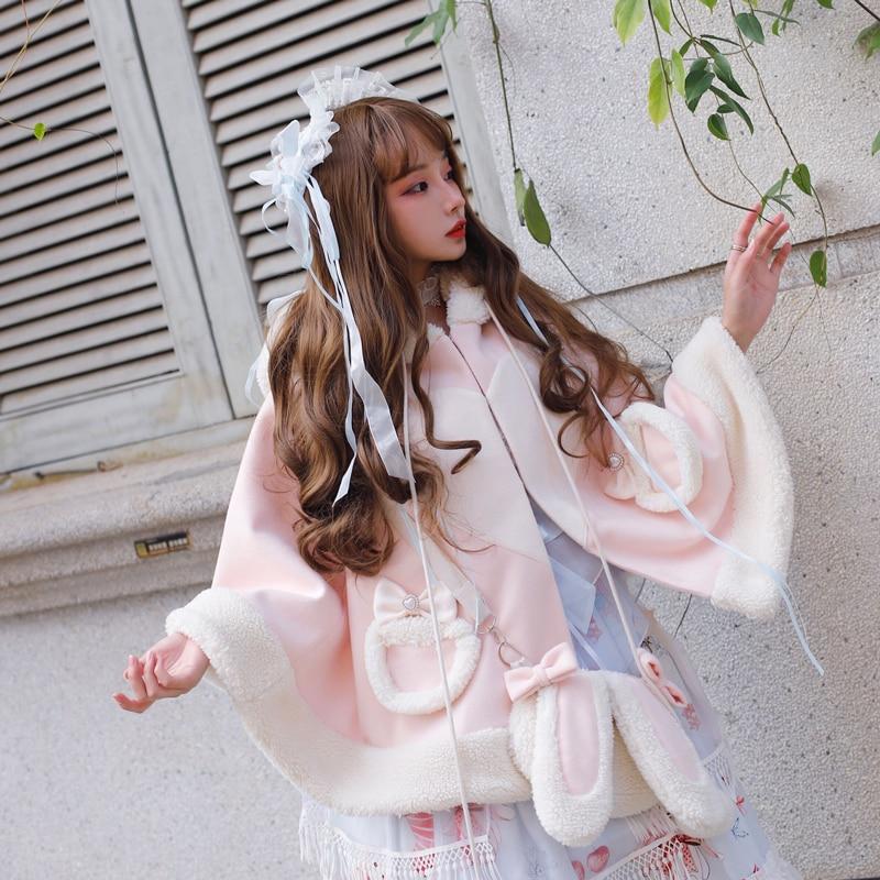 Winter sweet lolita cloak vintage plus velvet thickening cute rabbit ears bowknot princess coat kawaii girl gothic lolita coat