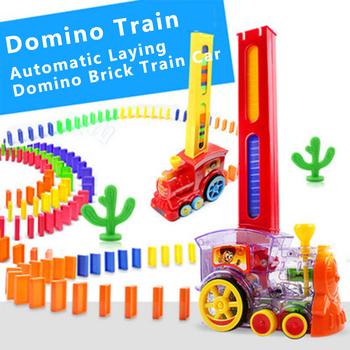Bloki pociągu Domino zestaw domino układanie samochodu z akustyczno-optycznym automatycznym wahadłem szachy samochód elektryczny prezent urodzinowy tanie i dobre opinie 7012-50 2-4 lat Z tworzywa sztucznego Transport