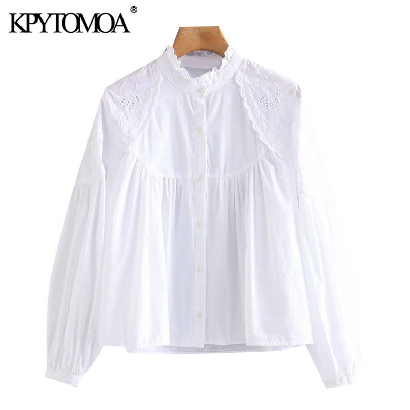 KPYTOMOA Women 2020 Fashion With Ruffle Trim Embroidery Blouses Vintage High Collar Lantern Sleeve Female Shirts Chic Tops