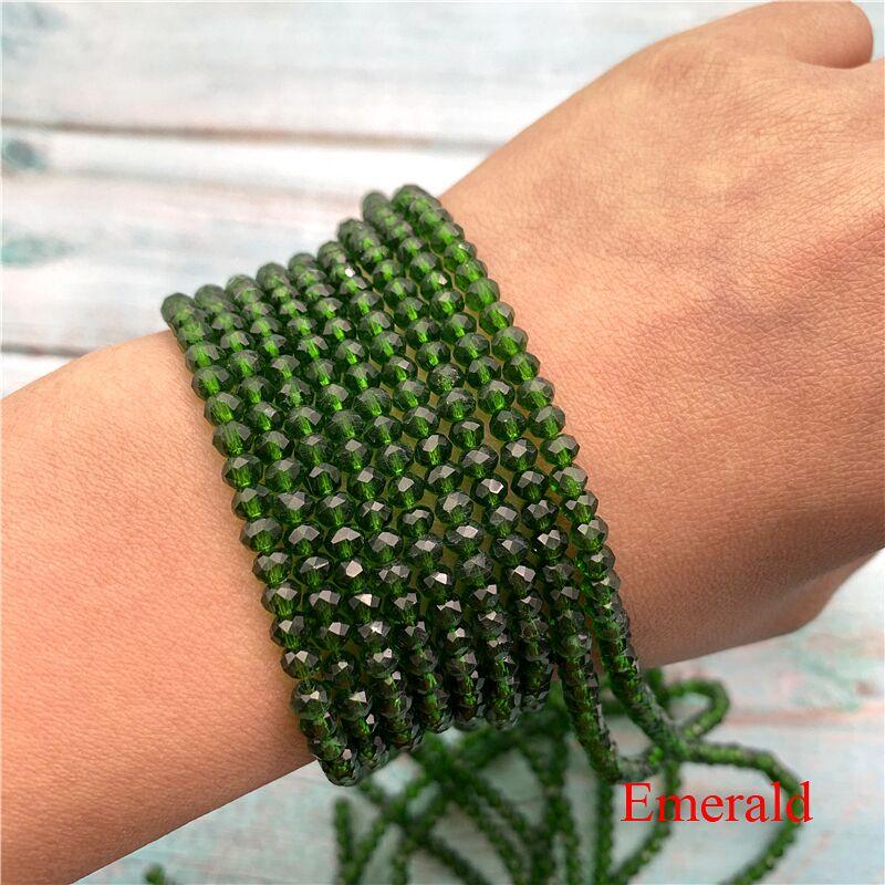 40 цветов 1 нить 2X3 мм/3X4 мм/4X6 мм хрустальные бусины rondelle хрустальные бусины стеклянные бусины для самостоятельного изготовления ювелирных изделий - Цвет: Emerald