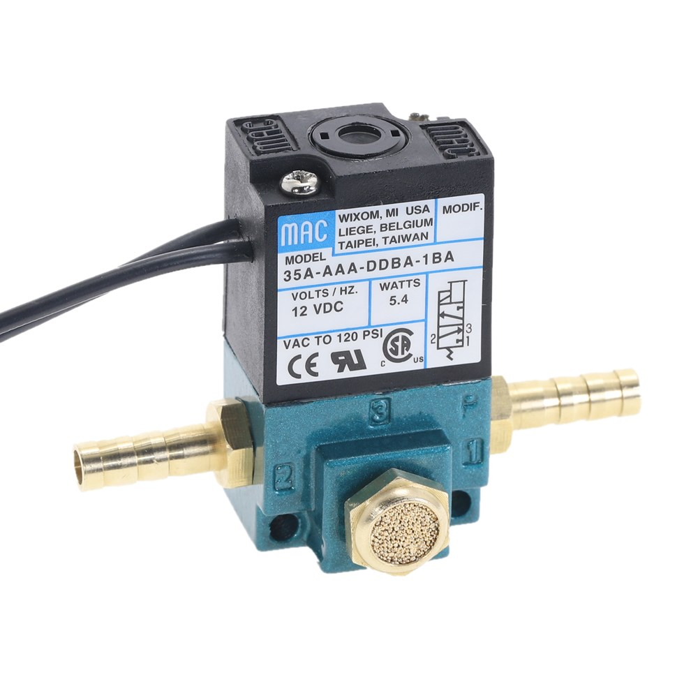 MAC 3 Port Electronic Boost Control Solenoid Valve 35A-AAA-DDBA-1BA 1/8'' NPT With Brass Silencer
