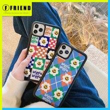 Nettes Lächelndes Gesicht Blumen Stickerei Personalisierte Telefon Abdeckung für Iphone 11 12 Mini Pro Max 7 8p Se Xs xr Schutz Phone Cases