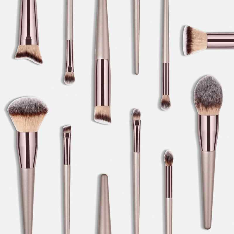 10 Uds. De lujo juego de pinceles de maquillaje de champán sombra de ojos maquillaje en polvo delineador de pestañas pincel de maquillaje de labios herramienta de belleza cosmética