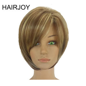 HAIRJOY Women Synthetic Hair Wig Bob Haircut Pixie Style with Bangs  Blonde Brown Double Color Short  Wig Free Shipping