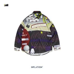 Image 5 - אינפלציה 2020 FW Oversize גברים חולצה Streetwear 2020 סתיו מצחיק דיגיטלי הדפסה ארוך שרוול גברים חולצה Harajuku גברים חולצה 92155W