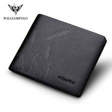 Williampolo hakiki deri cüzdan moda Bifold erkek cüzdan Casual katı Cowskin deri çanta #191422