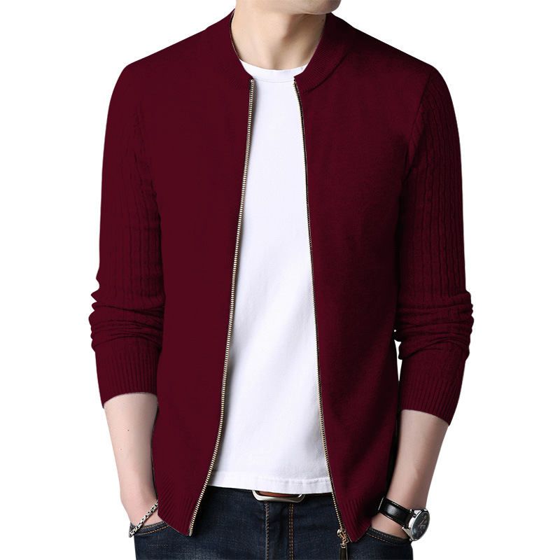 Spring Men's Sweater Cardigan Solid Long Sleeve Knitted Coat Full Zipper Casual Wool Sweater Tide Slim Male Autumn Clothing