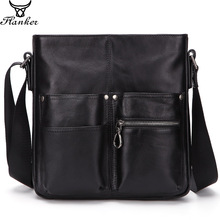 Flanker new cow leather mens messenger bag genuine shoulder for male fashion crossbody bags travel business man