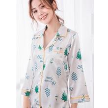 JRMISSLI 여성 잠옷 세트 인쇄 잠옷 여성 새틴 플라밍고 잠옷 2019 봄 우아한 실크 홈웨어 패션 피자 마 Mujer