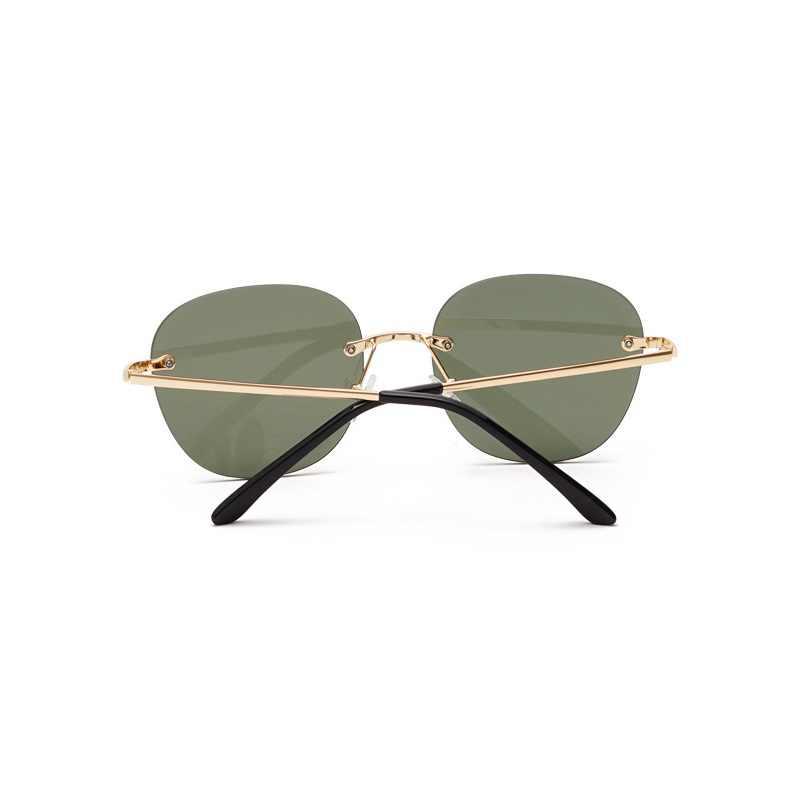 Più nuovo Modo Occhiali Da Sole Rotondi Per Gli Uomini E Le Donne Senza Montatura Classica Ovale Occhiali Da Sole Del Progettista di Marca di Lusso Delle Signore Shades