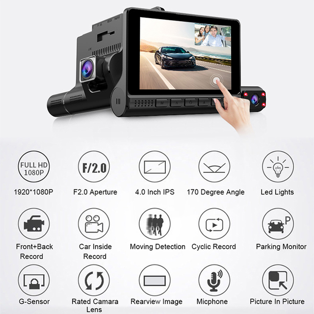 "4"" LCD Dash Cam Car DVR 24h Parking Monitor 1080P Night Vision Dashcam Auto Video Recorder with 720P Rear Camera 3 Lens G-Sensor 2"