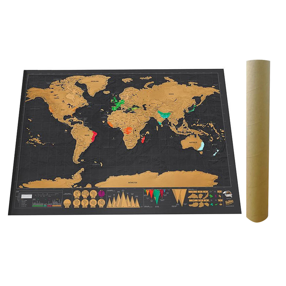 Scratch Off World Travel Map Poster Copper Foil Wall Sticker Personalized Journal Log Small Size With Cylinder Packing