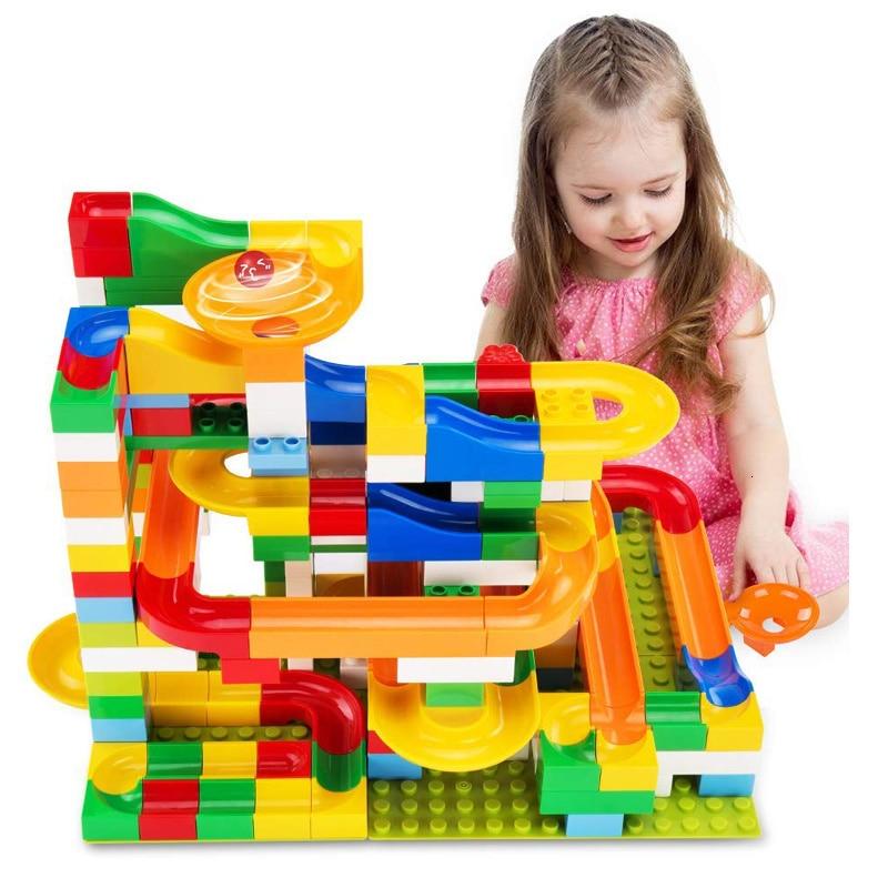 54-176PCS Big Size Brick Marble Race Run Maze Ball Track DIY Building Blocks Compatible Duploe Block Toys For Children
