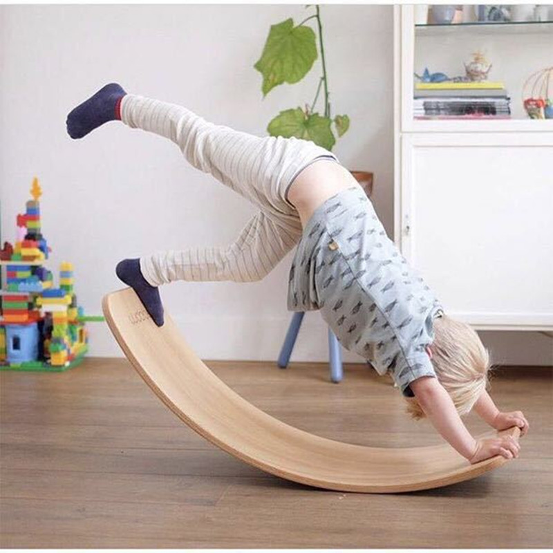 Balance Board Toy Wooden Seesaw Indoor Curved Board Baby Double Wooden Outdoor Seesaw Yoga Board Outdoor Toys For Kids