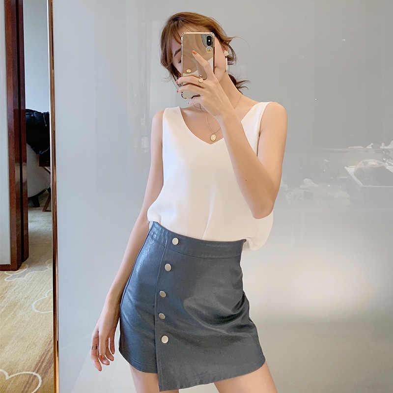 Kore Moda Bayan Üstleri ve Bluzlar Şifon Kadın Bluzlar Beyaz Kolsuz V Yaka Beyaz Kadın Gömlek Artı Boyutu XXL