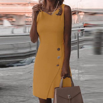 White Dress Office Dress Casual Summer Sleeveless Solid Color Temperament Dress Dresses for Women Autumn Casual Cocktail Dress Dresses Elegant Dresses Evening Knee-Lenght Mini O Neck Party Print Dresses Sexy Sleeveless Slim Summer Women Color: Yellow Size: 5XL