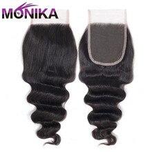 Monika 髪ペルールースディープウェーブ閉鎖人毛閉鎖 4 × 4 のレースの閉鎖毛ミドル/送料/3 一部閉鎖非レミーの髪