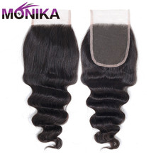 Monika Hair Peruvian หลวม Deep WAVE มนุษย์ผมปิดลูกไม้ 4x4 ปิดผมกลาง/ฟรี/3 ปิด Non Remy Hair