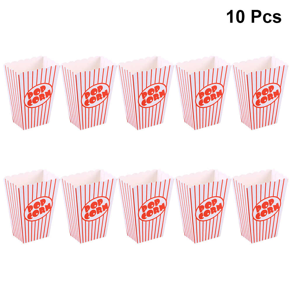 10pcs Red Paper Popcorn Boxes Bags Disposable Popcorn Box Party Favors Snack Food Container Cartons Pop Corn Box Baby Shower