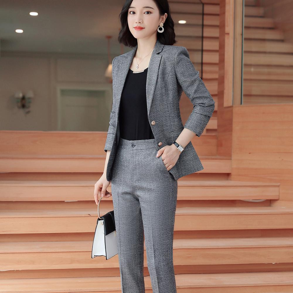 Elegant Formal Office Work Wear OL Single Breasted Women Pant Suit Pink Plaid Notched Blazer Jacket  Pant Lady Suits 2Pieces Set